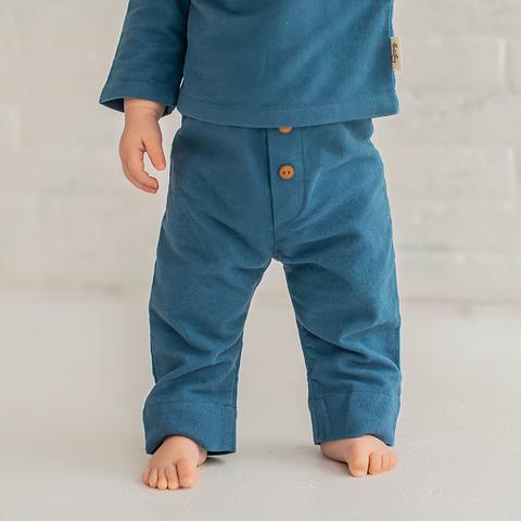 Flannel joggers 0+, Cobalt Blue