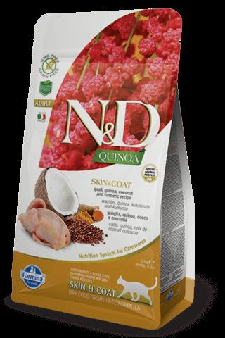 купить Farmina N&D Quinoa Feline Skin & Coat Quail сухой беззерновой корм для взрослых кошек, поддержка здоровья кожи и шерсти   Перепел, киноа, кокос и куркума.