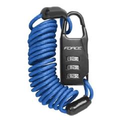"""Велозамок FORCE """"SMALL"""", спираль, кодовый, 120см/3мм, синий"""