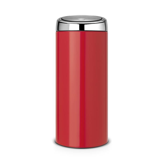 Мусорный бак Brabantia Touch Bin (30л), Пламенно–красный/крышка полированная, арт. 483844 - фото 1