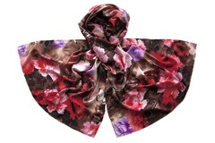 Палантин коричневый с цветами 1501
