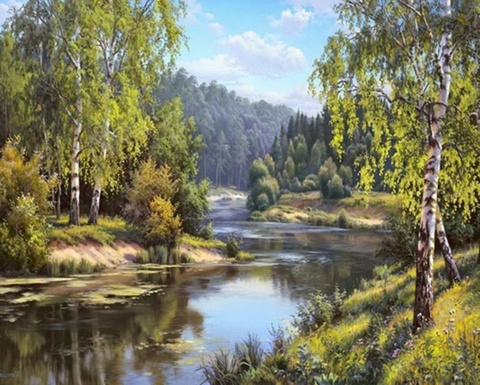 Алмазная Мозаика 40x50 Речка в лесу (арт. GA74229 )