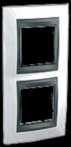 Рамка на 2 поста, вертикальная. Цвет Нордик-графит. Schneider electric Unica Top. MGU66.004V.292