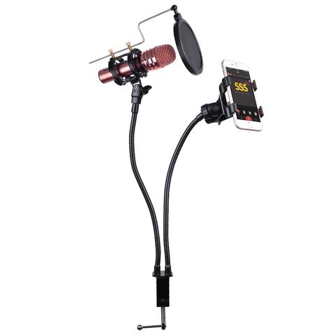 Стойка для микрофона на гусиной шее с поп фильтром
