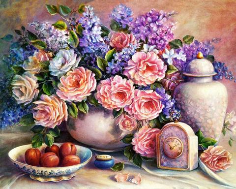 Алмазная Мозаика 40x50 Цветы и часы
