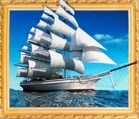 Алмазная Мозаика 5D 40x50 Корабль с белыми парусами на тихой воде