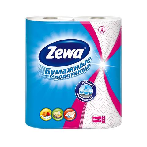 Полотенца бумажные Zewa Декор 2-слойные белые с рисунком 2 рулона по 14 метров