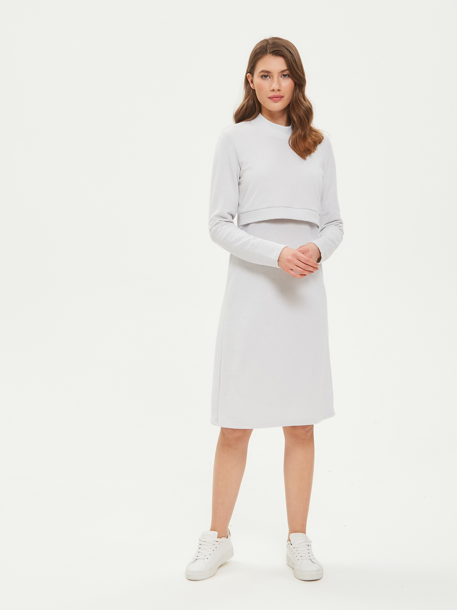 Chic mama Нарядное платье с люрексом для кормящих мам с секретом для кормления