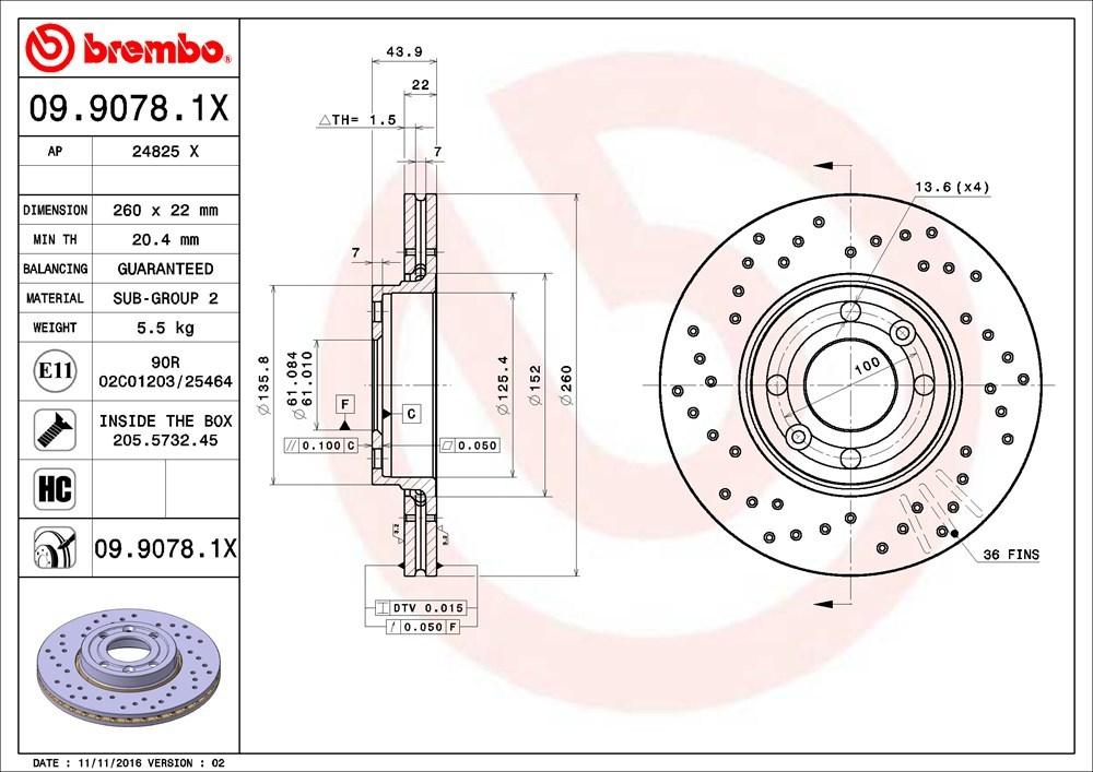 Диск тормозной переднего тормоза Brembo Xtra (с перфорацией) для Lada Vesta