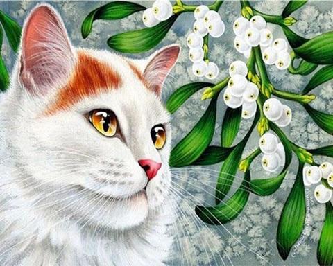 Алмазная Мозаика 20x30 Кошка у ягод