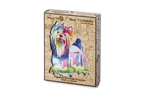 Нью-Йоркшир с кристаллами Swarovski от Wood Trick - сборные пазлы причудливой формы, это картины, которые вы собираете сами