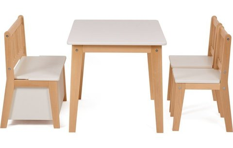 Комплект детской мебели Polini kids Dream 195 M, со скамьей и стульями, белый-натуральный
