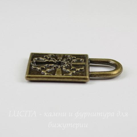 "Подвеска ""Замок"" (цвет - античная бронза) 27х17 мм"