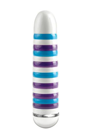 Вибратор керамический ребристый  Ceramix,  бирюзово-фиолетовый,  17,5 см,  диаметр 3,8 см