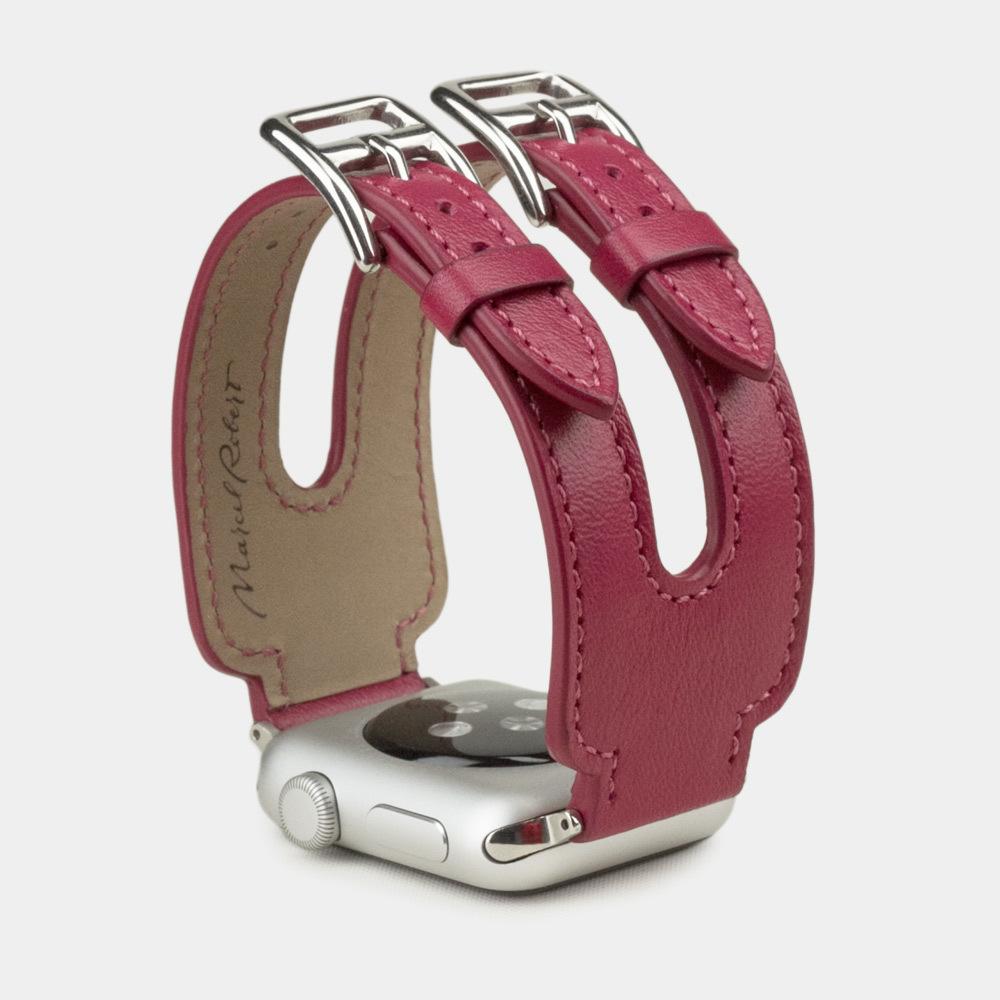 Ремешок для Apple Watch 38мм ST Double Buckle из натуральной кожи теленка, цвета малины