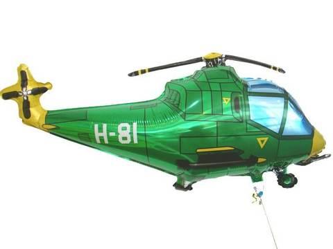 Фольгированный шар Вертолет зеленый