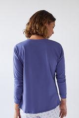 Синя бавовняна футболка з довгими рукавами