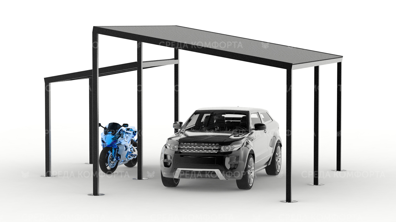 Навес для авто с местом для хранения мотоцикла, квадроцикла, или лодки AVNVS0036