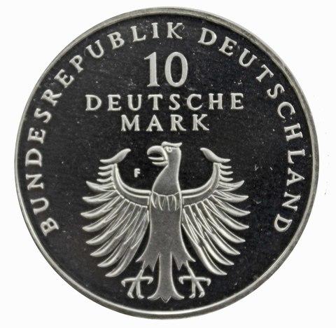 10 марок. 50 лет Немецкой марке (F). Серебро. 1998 г. PROOF. В родной запайке