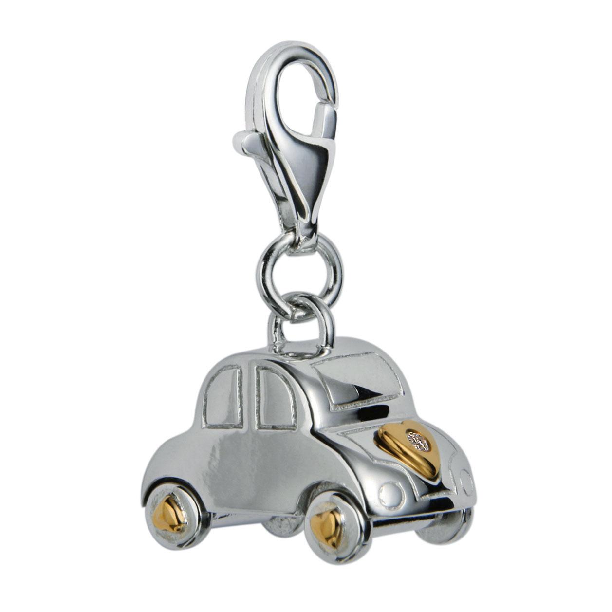 Серебряный талисман в виде машины с бриллиантом