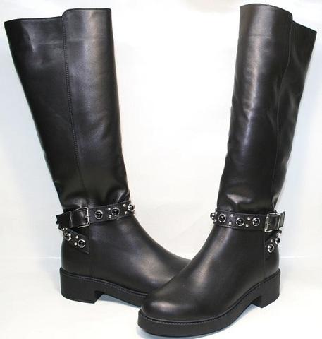 Зимние сапоги женские кожаные. Черные сапоги на низком ходу Kluchini-LeatherBlack