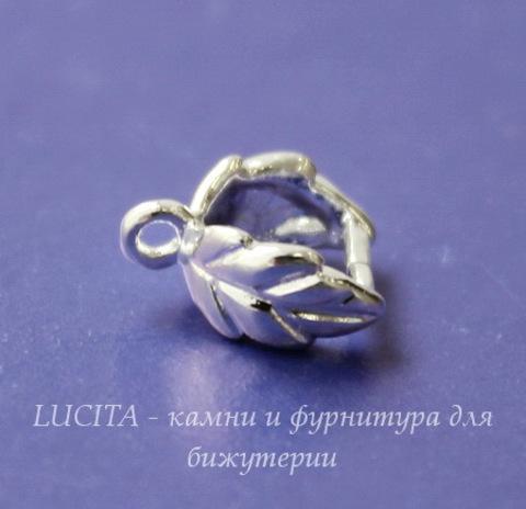 "Держатель кулона ""Листик"" 9х7х4 мм (цвет - серебро)"