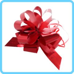 Бант подарочный красный с блестками 3 см