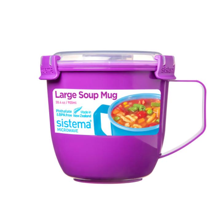 "Кружка суповая для СВЧ Sistema ""Microwave"" 900 мл, цвет Фиолетовый"