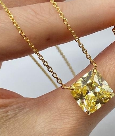 31849- Колье из серебра в позолоте с желтым кварцем огранки принцесса