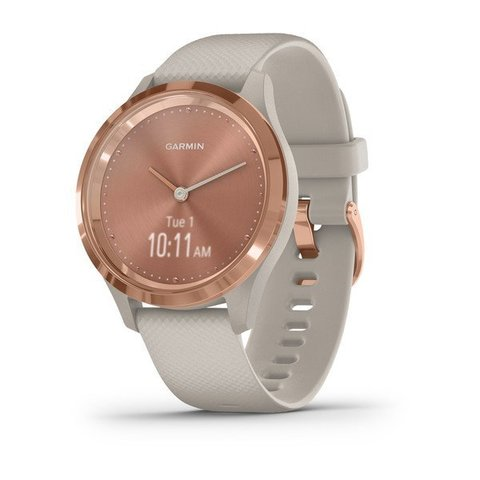Garmin Vivomove 3s - Rose Gold Stainless Steel Bezel with Light Sand Case and Silicone Band