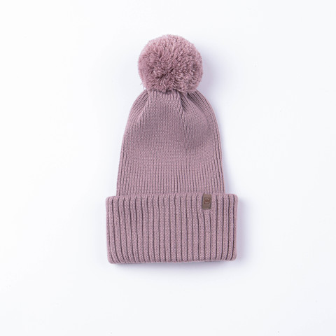 Double turn-up hat with pompon - Gray Rose