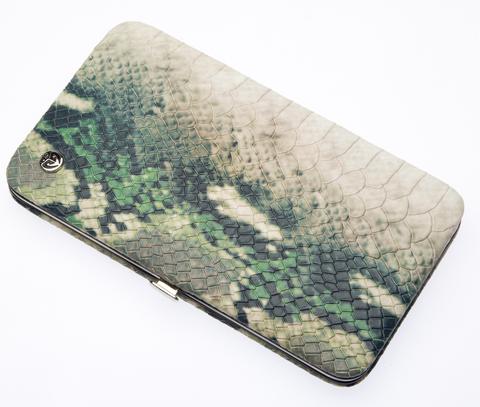 Маникюрный набор GD, 7 предметов, кожаный футляр, цвет зеленый, рептилия