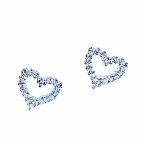 25473 - Серьги-пусеты Сердечки из серебра с цирконами (большие)