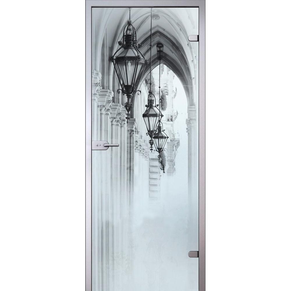 Стеклянные межкомнатные двери Межкомнатная стеклянная дверь АКМА Аркада стекло беcцветное матовое с рисунком arkada-dvertsov-min.jpg