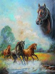 Алмазная Мозаика 40x50 Лошади