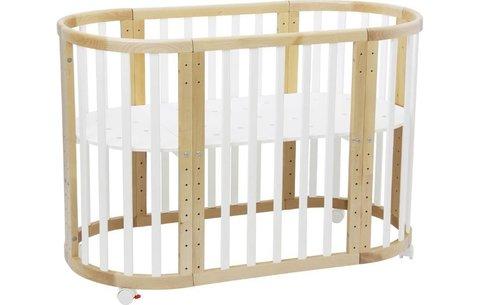 Кроватка детская Polini kids Simple 910, белый+натуральный