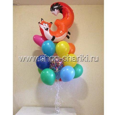 Фонтан из шаров с цифрой 3