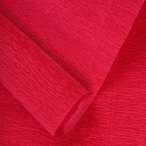 Бумага гофрированная, цвет 589 темно-красный, 180г, 50х250 см, Cartotecnica Rossi (Италия)
