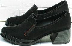Красивые модные туфли для женщин 50 лет весна осень. Женские черные кожаные туфли с устойчивым каблуком 6 см H&G BEM 167 10B-Black.