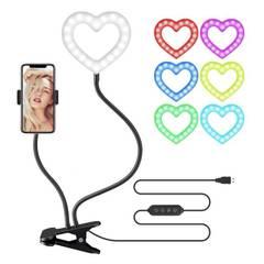 Кольцевая лампа RGB в форме сердца с держателем для телефона на прищепке