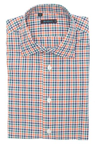 Ярко оранжево-синяя рубашка с геометрическим рисунком из мелких кружков и квадратиков