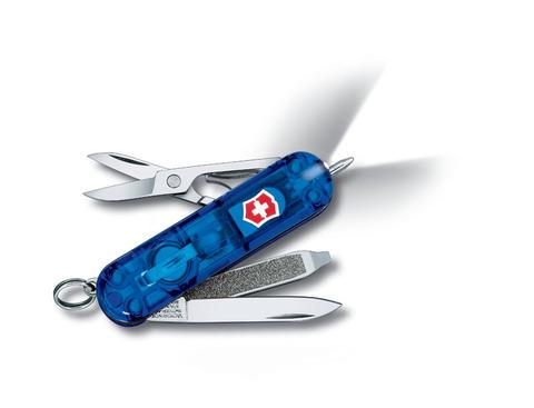 Нож-брелок VICTORINOX Signature Lite 58 мм 7 функций полупрозрачный синий VC6226.T2