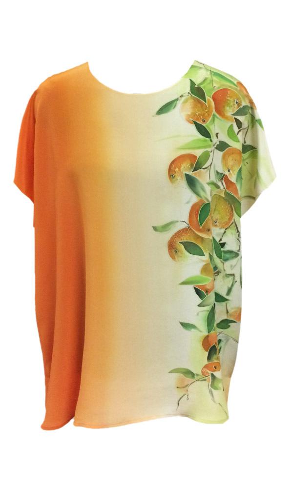 Шелковая блузка батик Сочные мандарины П-182