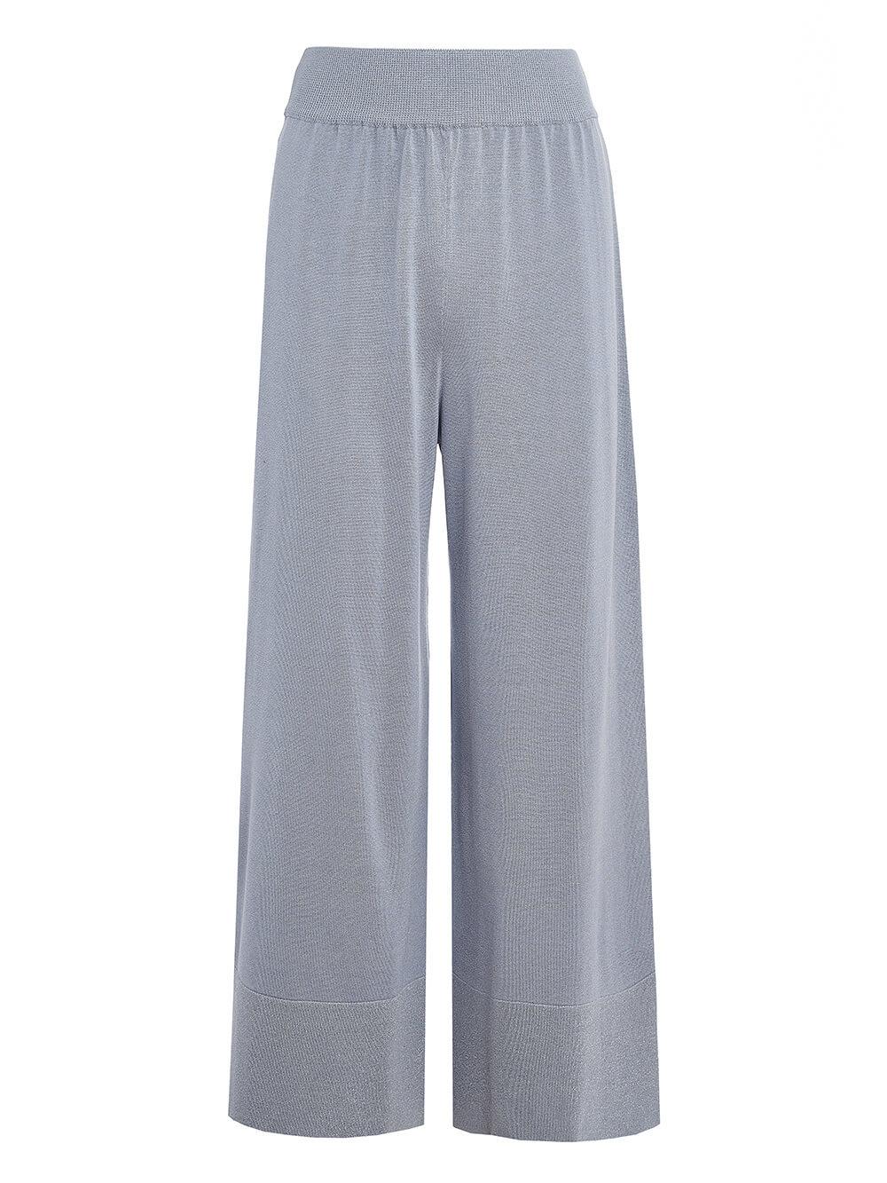 Женские брюки-клеш светло-серого цвета из шелка и вискозы - фото 1
