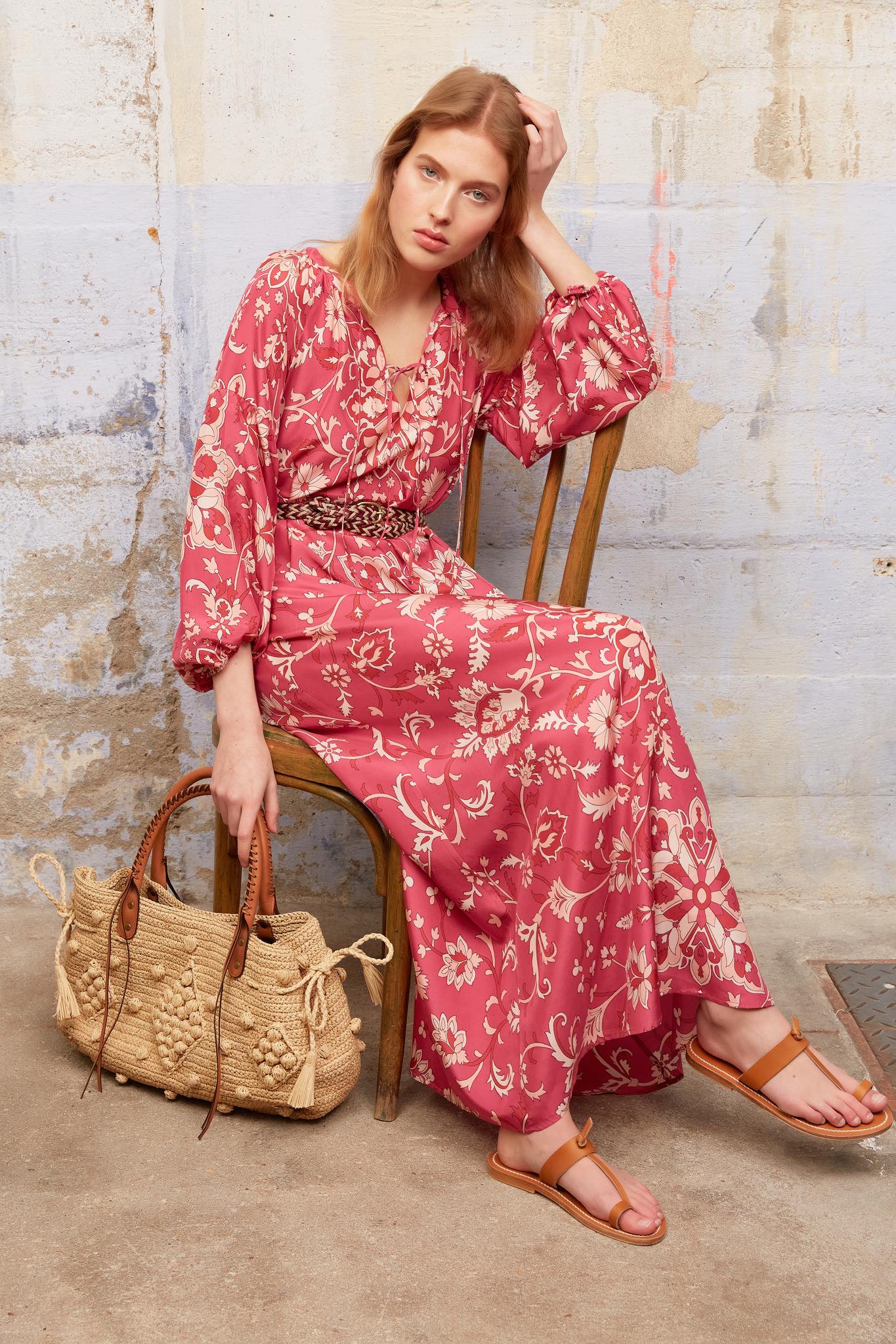 SAHANA - Длинное платье-туника из шелка с принтом