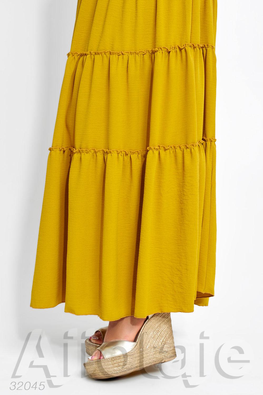 Летнее платье в пол с юбкой в оборочку