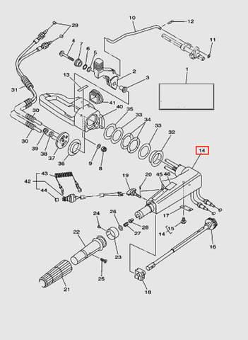 Корпус румпеля для лодочного мотора T40 Sea-PRO (14-14)