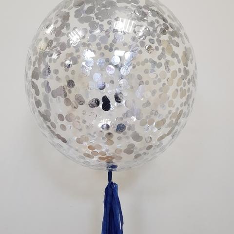 Шар Bubble с серебряным конфетти и кистью