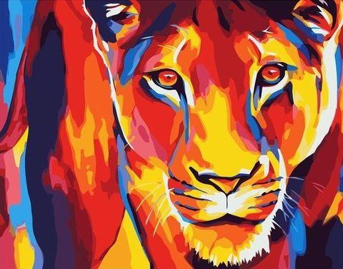 Алмазная Мозаика 5D 40x50 Цветная львица