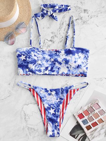 купальник раздельный бандо американский флаг синий красный 1